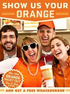 Free Whataburger for Wearing Orange Nov. 10