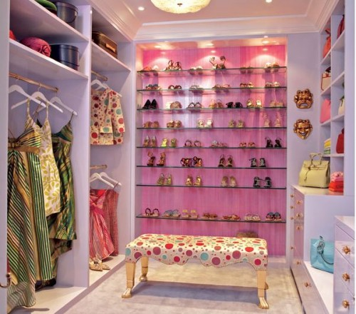colorful walk in closet