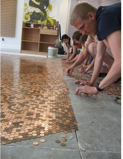 unique flooring made for pennies