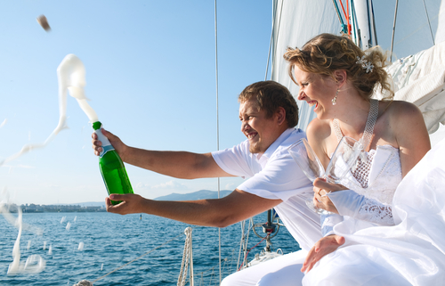 toasting on a sailboat