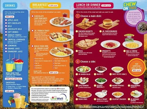 Dennys kids menu