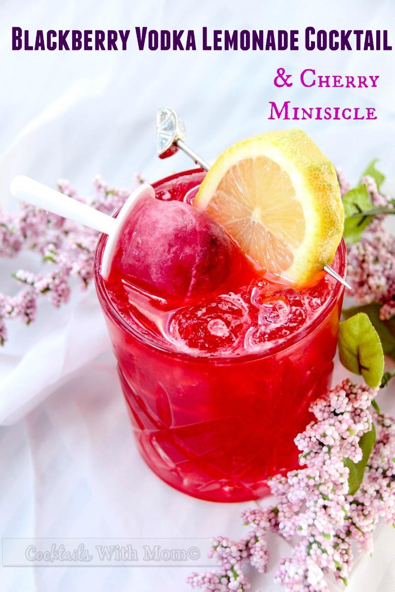 Blackberry Vodka Lemonade Cocktail & Cherry Minisicle