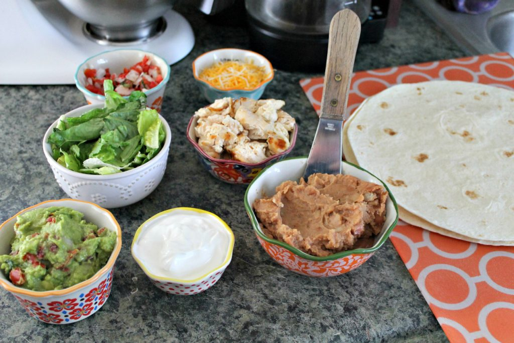 Mexican Grilled Chicken Wrap Sandwich assembly