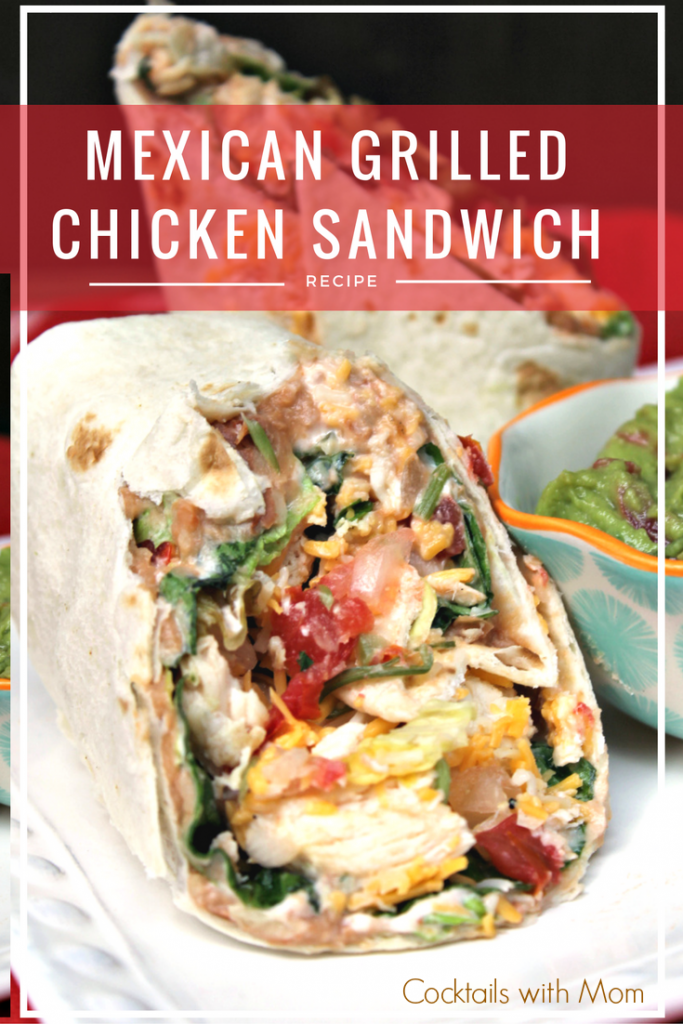 Mexican grilled chicken wrap sandwich with refried beans with text overlay - Mexican Grilled Chicken Wrap Sandwich Recipe