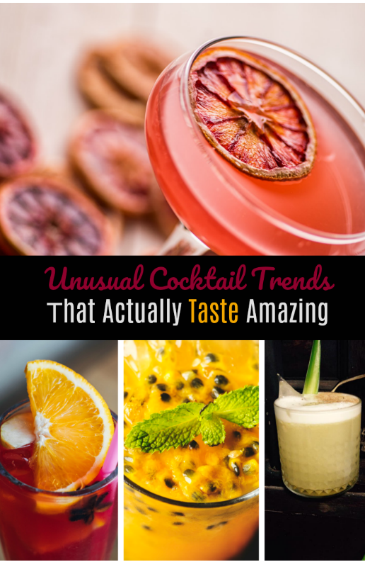 bright colored cocktails with text overlay-unusual cocktail trends