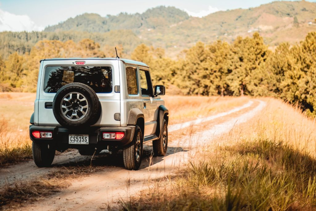 jeep on country road